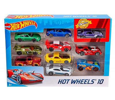 Набор подарочный 10 машинок Hot wheels