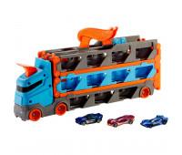 Набор игровой Hot Wheels Грузовик-автотрек Скоростная автотрасса с хранилищем для машинок GVG37