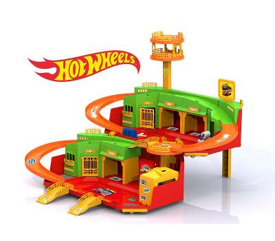 Игровой набор парковка «ХОТ ВИЛС с вертолетной площадкой»